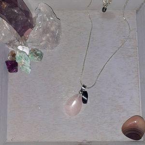 Healing Rose Quartz + Hematite Necklace
